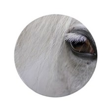 "PUZZLE - White Horse 3.5"" Button"