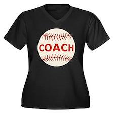 Baseball Coa Women's Plus Size Dark V-Neck T-Shirt