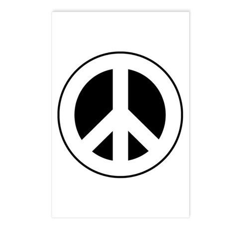 White on Black Peace Sign Postcards (Package of 8)