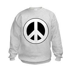 White on Black Peace Sign Sweatshirt