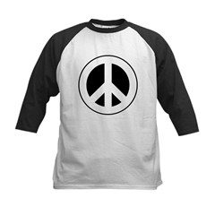 White on Black Peace Sign Kids Baseball Jersey