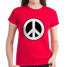 White on Black Peace Sign Tee