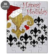Santa Fleur de lis Black and Gold Puzzle