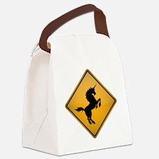 Unicorn Warning Sign Canvas Lunch Bag