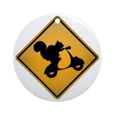 Squirrel on Scooter Warning Sign Round Ornament