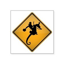 """Seahorse Rodeo Warning Sign Square Sticker 3"""" x 3"""""""