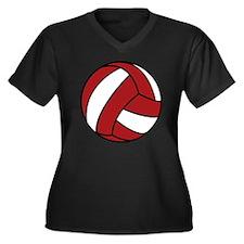 0005_Volleyb Women's Plus Size Dark V-Neck T-Shirt