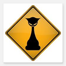 "Evil Cat Warning Sign Square Car Magnet 3"" x 3"""