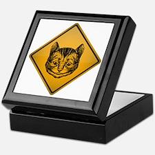 Cheshire Cat Warning Sign Keepsake Box