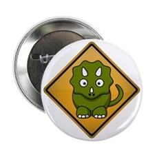 """Triceratops Warning Sign 2.25"""" Button"""