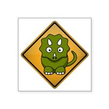 "Triceratops Warning Sign Square Sticker 3"" x 3"""