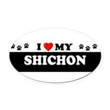 Cute Shichon! Oval Car Magnet
