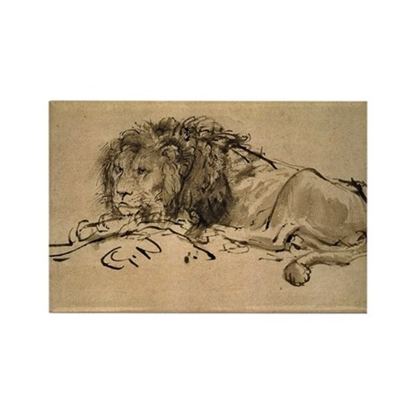 Rembrandt Lion Rectangle Magnet