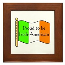 Proud Irish-American (w-flag) Framed Tile
