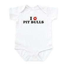 I Heart (Pawprint) Pit Bulls Infant Bodysuit