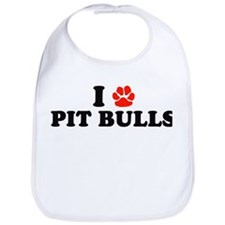 I Heart (Pawprint) Pit Bulls Bib