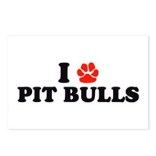 I Heart (Pawprint) Pit Bulls Postcards (Package of