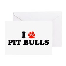 I Heart (Pawprint) Pit Bulls Greeting Cards (Packa