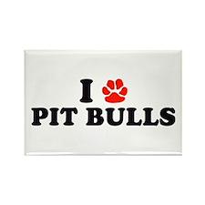 I Heart (Pawprint) Pit Bulls Rectangle Magnet
