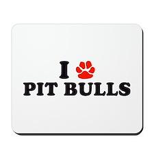 I Heart (Pawprint) Pit Bulls Mousepad
