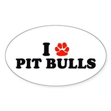 I Heart (Pawprint) Pit Bulls Oval Decal