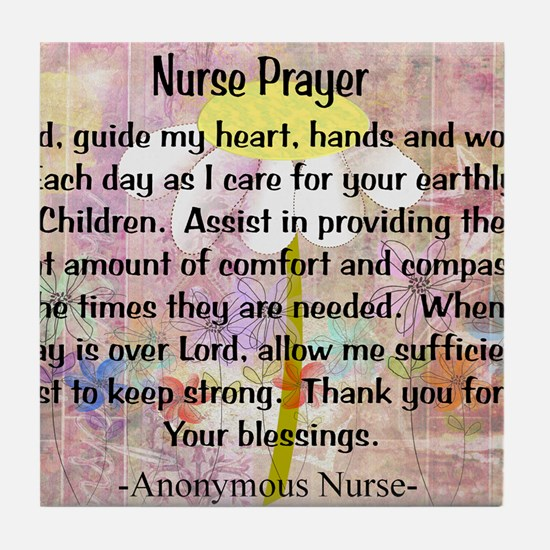 Nurse prayer blanket PINK Tile Coaster