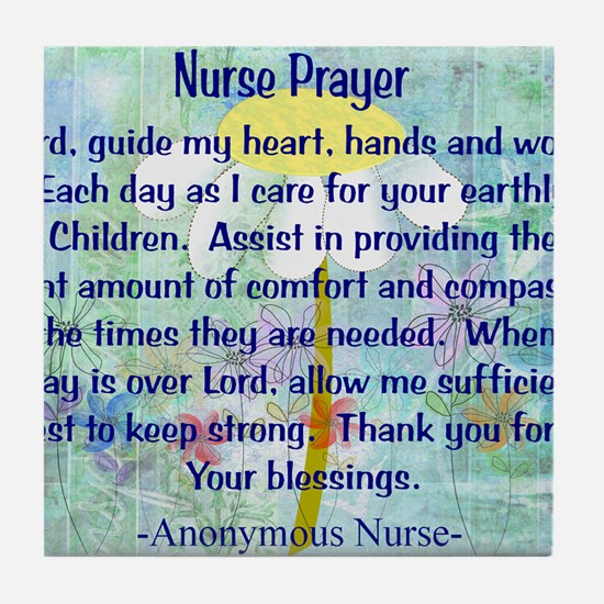 Nurse prayer blanket BLUE Tile Coaster