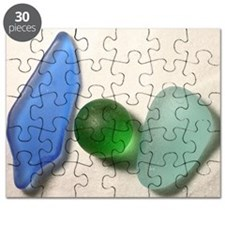 Blue Sea Glass with Green Sea Glass Sphere Puzzle
