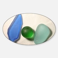 Blue Sea Glass with Green Sea Glass Decal