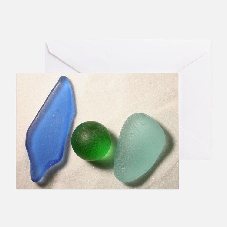Blue Sea Glass with Green Sea Glass  Greeting Card