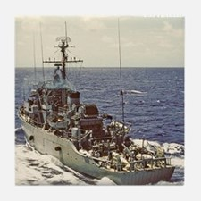 uss fearless framed panel print Tile Coaster