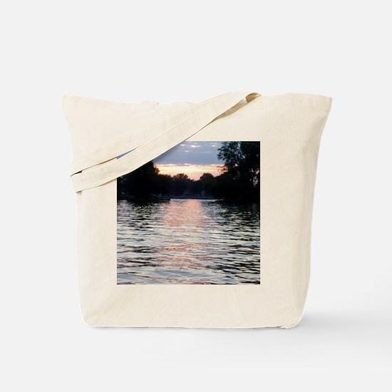 Indian lake Sunset Tote Bag