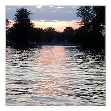 """Indian lake Sunset Square Car Magnet 3"""" x 3"""""""