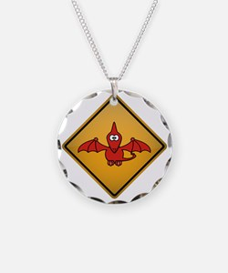 Pterodactyl Warning Sign Necklace