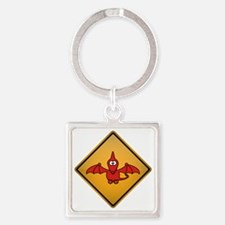 Pterodactyl Warning Sign Square Keychain