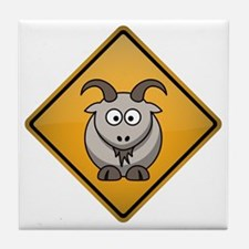 Goat Warning Sign Tile Coaster