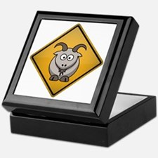 Goat Warning Sign Keepsake Box