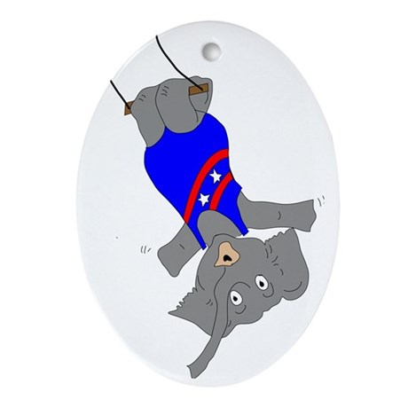 Circus Elephant on the Trapeze Oval Ornament