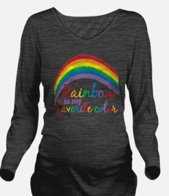 Rainbow is My Favori Long Sleeve Maternity T-Shirt