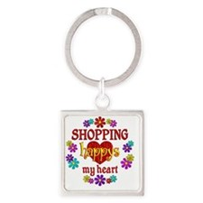 Shopping Happy Square Keychain