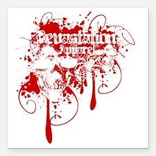 """Devastation Blood Drippi Square Car Magnet 3"""" x 3"""""""