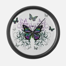 MultiColored Butterflies Large Wall Clock