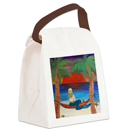 Giant Orange Sunset Hammock merma Canvas Lunch Bag