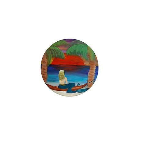 Giant Orange Sunset Hammock mermaid Mini Button