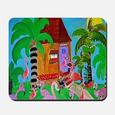 Yard Flamingos Mousepad
