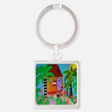 Yard Flamingos Square Keychain