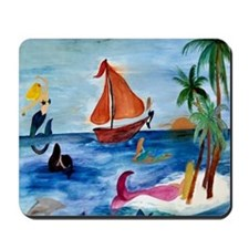 Island Hopping Mermaids Mousepad