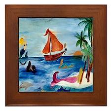 Island Hopping Mermaids Framed Tile