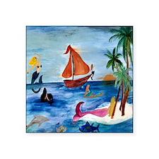 "Island Hopping Mermaids Square Sticker 3"" x 3"""