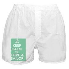Keep Calm and Love a Sailor Boxer Shorts